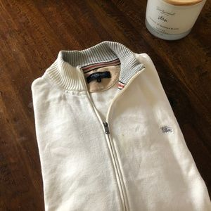 BURBERRY SOLID WHITE LS COTTON FULL ZIP SWEATER